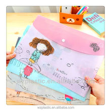 Custom fashion promotional A4 PP File bag plastic document holder with button