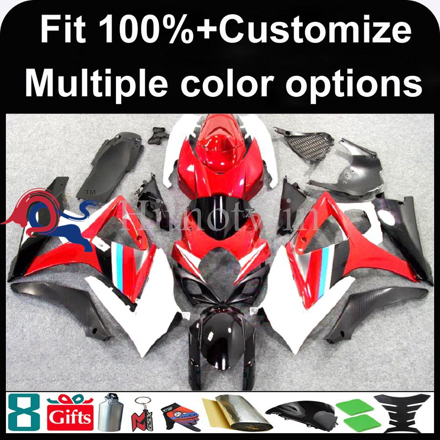 INJECTION MOLDING panels red white ABS Plastic Fairing For Suzuki K7 GSXR1000 2007 2008 GSXR1000 2007 2008 Aftermarket Fairing