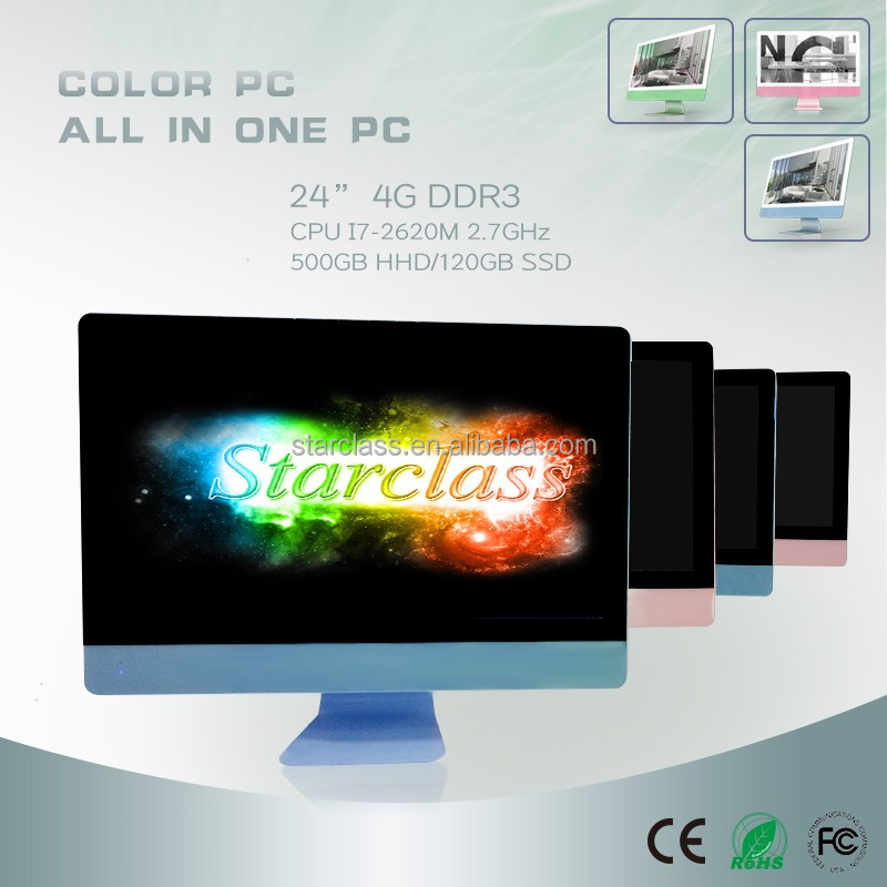 colors <strong>computers</strong> 24 inch I7 2620m 2.7GHz 4g 500g desktop laptop all in one pc with wireless keyboard mouse