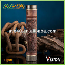 Classic vision e cigs x gun/x-fire Factory wholesale wooden carved mod
