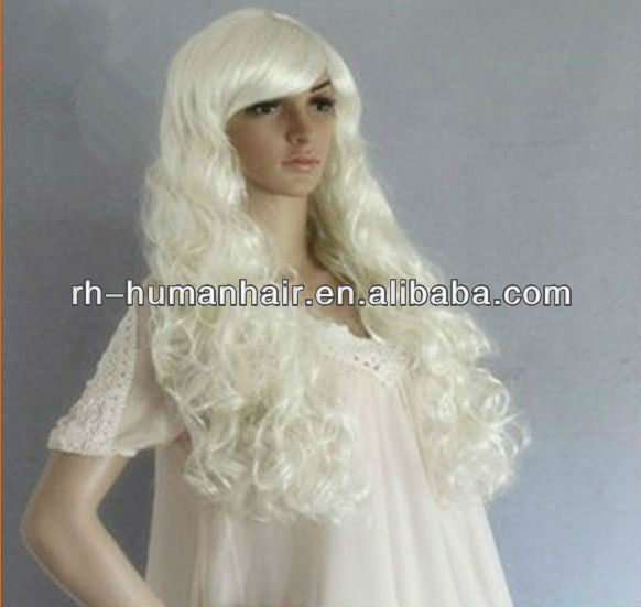 white long big curly white wholesale europe fashion cosplay wigs