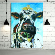 Free Shipping Skills Artist Handmade High Quality Abstract Animal Cow Oil Painting Pop Art Oil Paints For Living Room Decoration