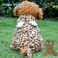 Wholesale sexy leopard print fleece dog coat for large dogs