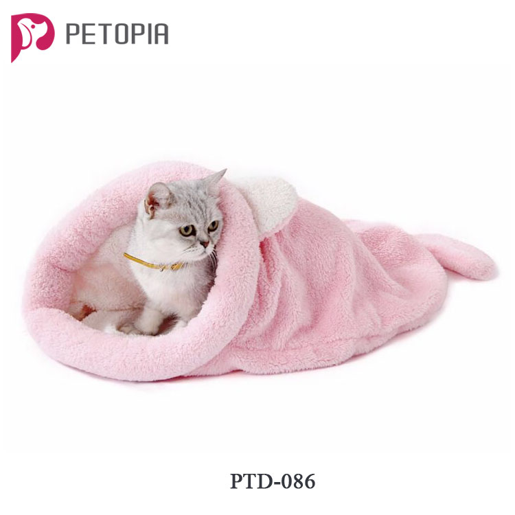 Cute Cartoon Pink Grey Cat Sleeping Bag Warm Lovely Dog Cat Bed Pet Dog House with Ear and Tail