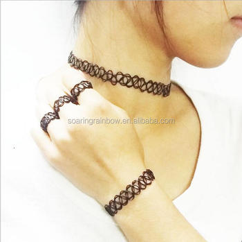Wholesale Fishing Line Stretch Black Tattoo Necklace ring bracelet jewelry sets