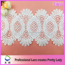 China-made embroidery designs motif trim lace/11cm widen milk silk big circle lace trim for shoes