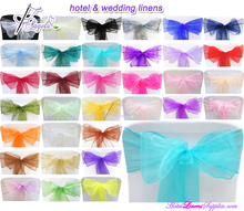 wholesale organza cheap wedding chair sashes for special events-over 50 solid colors for your options
