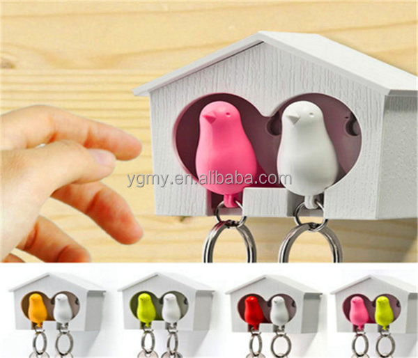 Party Supplies Top quality lovely bird house keychain holder bird whistle key ring sparrow key ring 5 colors