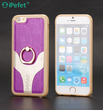 Double color cell phone leather case for iPhone 6S with ring holder