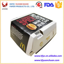 Cheap fast food packing cardboard hamburger box