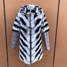 New Hooded Long style Rex Rabbit Fur Chinchilla Jacket Coat for Women Dyed Fur Garment