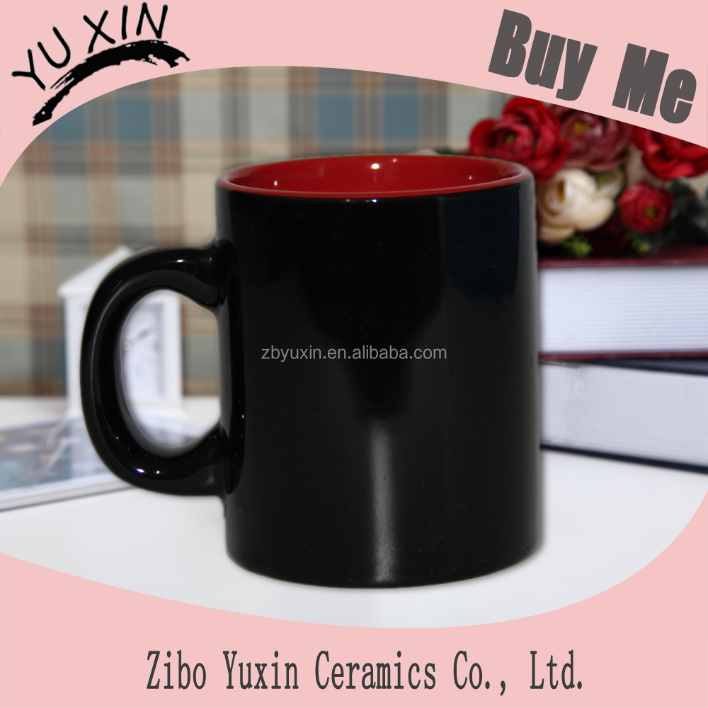 nice-looking outer black inner red color coating giftware mugs