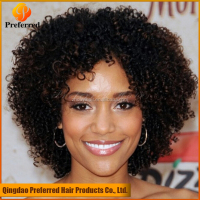 Short kinky curly virgin human hair full lace wig for black women