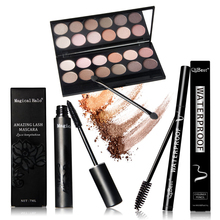 Amazing beauty collection waterproof Eye makeup set include Mascara + Eyeliner + eyeshadow + eyelash makeup brush