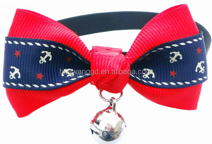 2015 Whosales pet accessories cat bow collars with bell bow ties for puppy and cats with pretty design