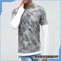 Mens Camo Long Sleeve T Shirt With White Sleeve And Bottom