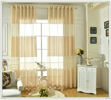Supply Jacquard stripe curtain with lace lining