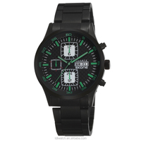 green hand black watch with japanese movemen for men