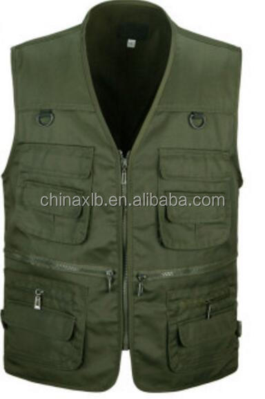 oem good quality durable cotton sleeveless work vest multi pocket vest