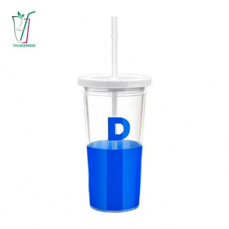 Wholesale 16Oz 20Oz Double Wall Reusable Custom Logo Clear Plastic Drinking Bubble Tea Sippy Cups With Lid And Straw No Minimum