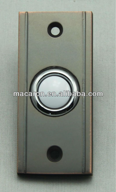 Wired Brass Doorbell Cover With 16mm Lighted Push Buttons Switches