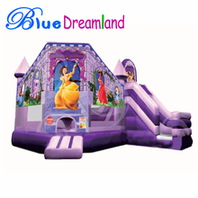 Small size Inflatable garden castle frozen bouncer jumping house combo trampoline