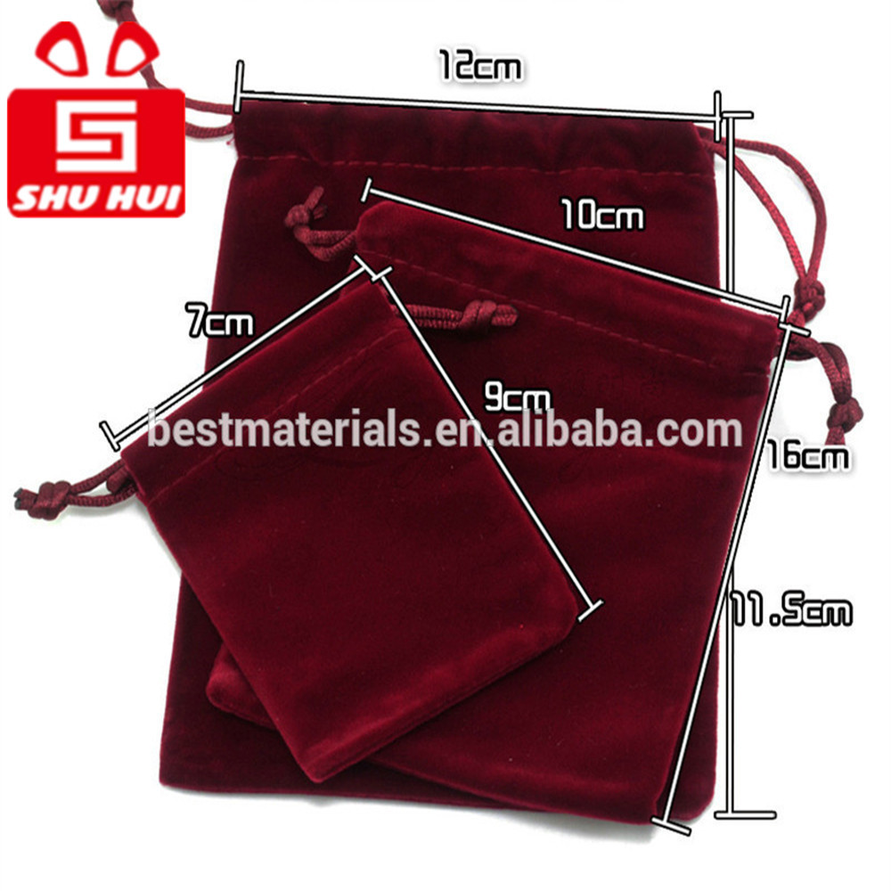 Custom velvet jewelry bag with logo fabric candy/nuts packing bags promotional drawstring phone pouch pen holder bag