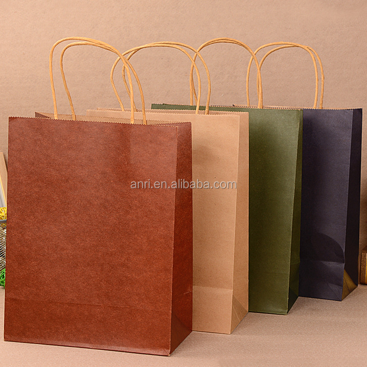 Kraft Paper Brown Eco Shopping Bag with Custom Logo Printing