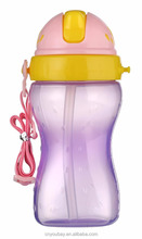 300ml Baby Training Cup With Drinking Flexible Straw&Ribbon BPA FREE