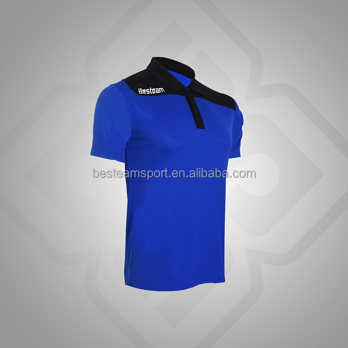 Royal Blue/Black design custom Professional custom logo comfortable uniform polo shirt