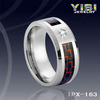 Costume Joyas De Acero Quirurgico Carbon Wedding Ring Wholesale Crystal Collection Tungsten Jewelry