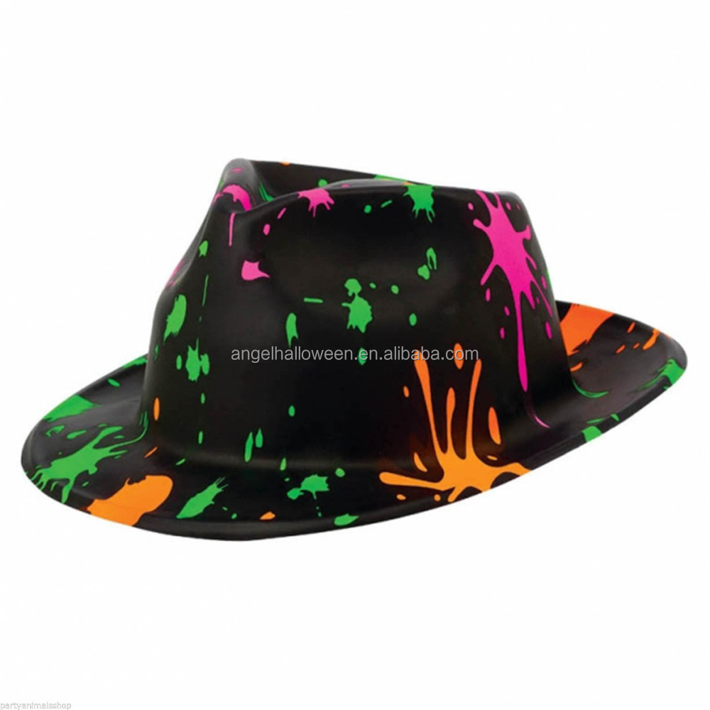 Adult retro 1980s paint splatter splat fancy dress party plastic fedora hat CH2261