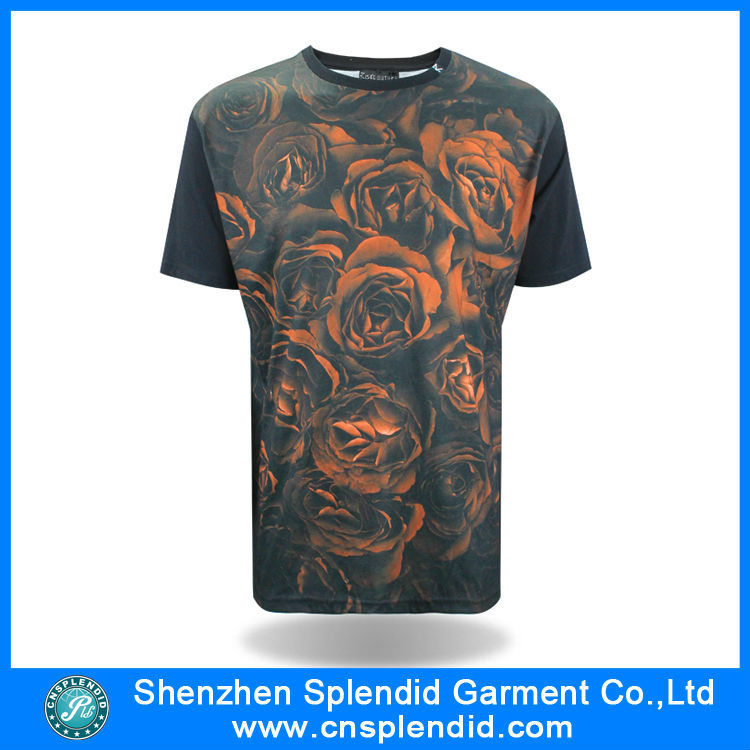 shenzhen clothes 3d all over printing flowers men's t-shirt custom
