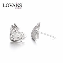 Flying Heart Small Gold Earrings Jewelry Wholesale 925 Sterling Silver Studs With CZ Light Weight SEB029W
