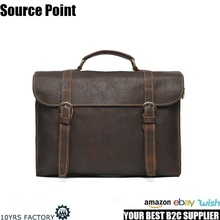 YD-08118 Italian Brand Top Grain Layer Leather Briefcase Men's Vintage Messenger Bag