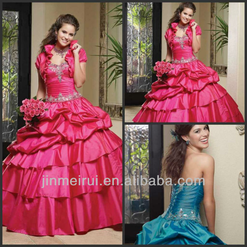 Red Elegant Floor Length Ball Gown V-neck Beaded Taffeta Quinceanera Dresses With Detachable Skirt DQ026