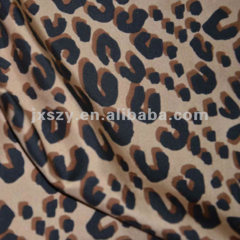leopard printed silk fabric printed twill silk fabric