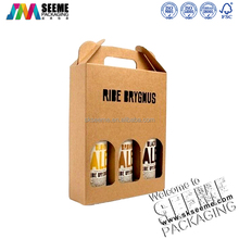 custom eco friendly folding kraft paper wine packaging box with handle