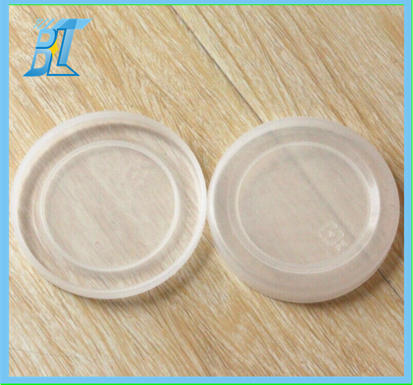white plastic stretch lids for pudding jar, sealed glass jar caps