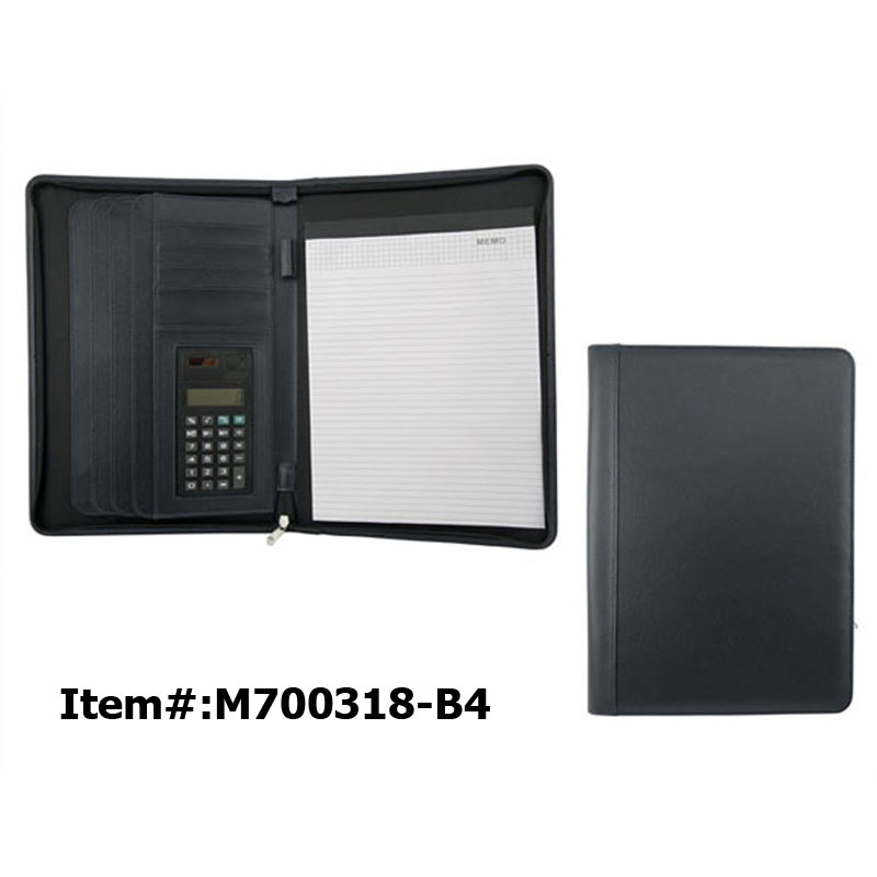 Executive Zipper File Folder Leather Portfolio Case Binders