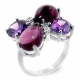 Inspired White Gold Plated Amethyst CZ flower Ring