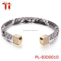 2016 Fashion Jewelry Luxury Python Skin Leather Bracelet, Snake Skin Bracelet, Genuine Python Leather Bracelet