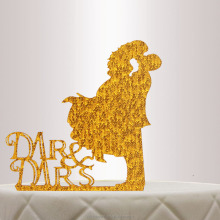 Cheap Laser cutting Golden acrylic wedding/birthday cake topper