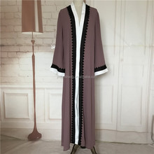 Guangzhou factory custom arabic women new model abaya in dubai cheap abaya kimono front open islamic clothing