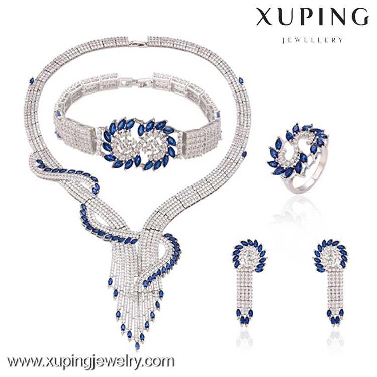 63318 Rhodium Earrings and necklace jewelry, Womens Wedding Zircon Diamond Crystal Jewelry Set