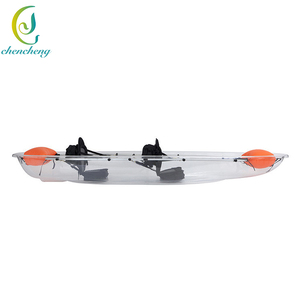 CC double seat transparent glass bottom pc pedal boat kayak for sale