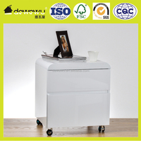 Wooden 2 drawer white PU lacquering movable night stand
