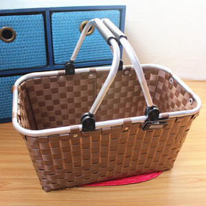 Alibaba China supplier PP shopping basket,picnic basket with aluminum handle