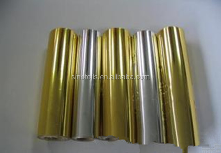 glossy transfer gold metalized pet film for paper packages wine label in graphic inductry