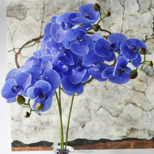 Decorative Wholesale PVC Real Touch Orchid Flower Artificial Blue Orchids Flowers Artificial Phalaenopsis Latex Orchid